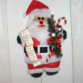 Traditional Santa Art Doll - Wall Hanging - Tuck - Shelf Sitter for your Mantel, Hutch or Bookshelf
